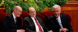SALT LAKE CITY, UT - APRIL 5: President Thomas Monson, (C), First Counselor Henry Eyring, (L) and Second Counselor Dieter Uchtdorf (R), talk before the start of the second session of the 184th annual general conference of The Church of Jesus Christ of Latter Day Saints, Mormons, on April 5, 2014 in Salt Lake City, Utah. Thousands of Mormons from around the world gather for the two day conference to hear instruction from leaders of the church. (Photo by George Frey/Getty Images)